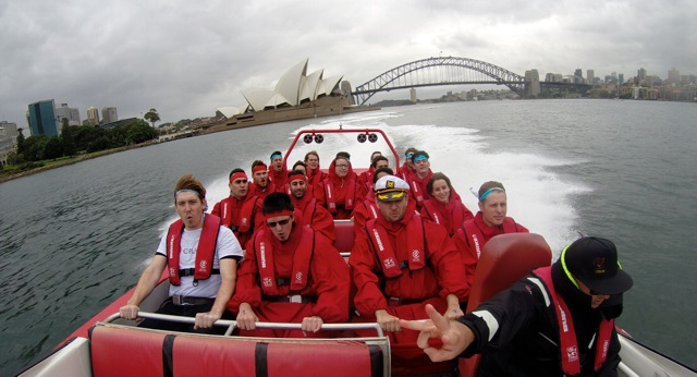 Corporate Events on Sydney Harbour jet boating amazing race thrills