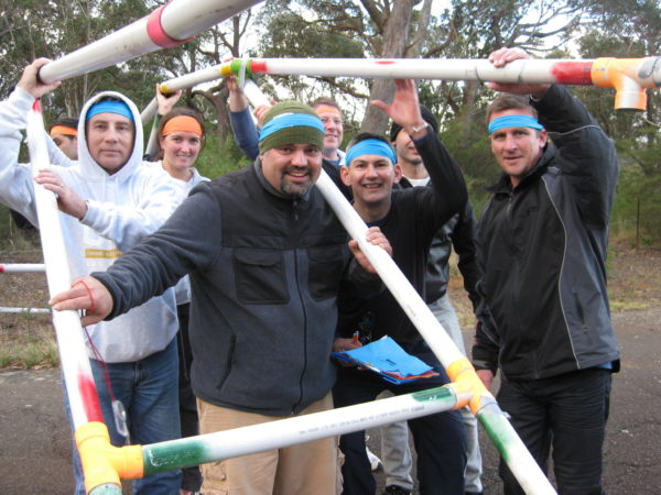 team construct bridge building team building