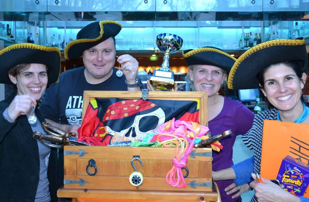 Teams from Treasure hunt enjoying Trophy