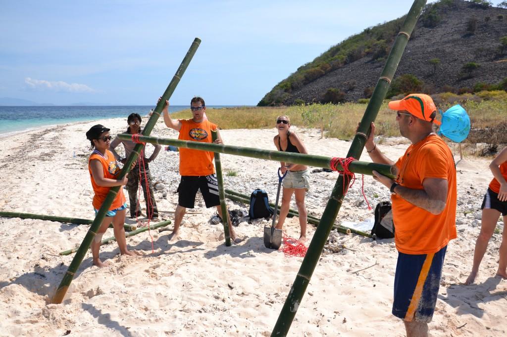 Corporate Team Building Survivor activities on the beach