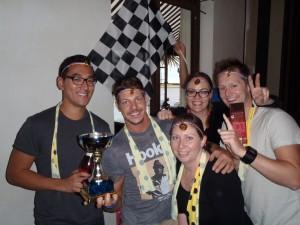Amazing Race Blue Mountains winning team smiles